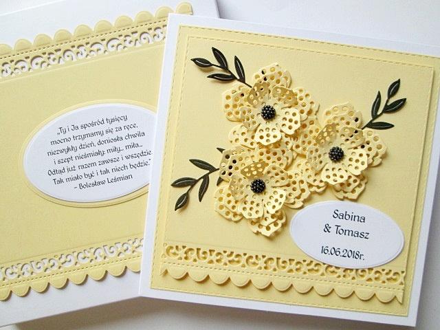 Kartka ślubna Z Cytatem żółta